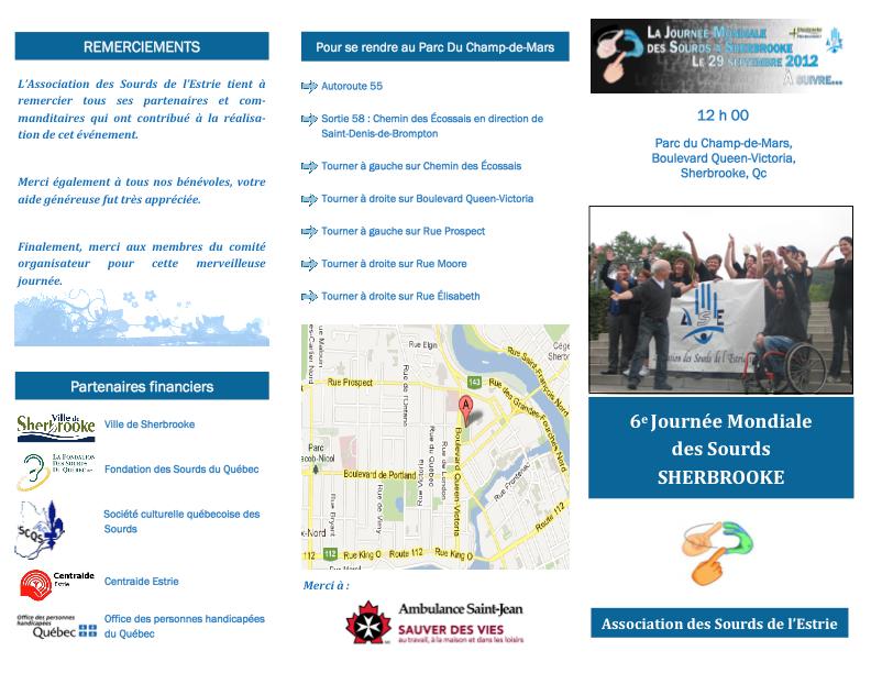 Association des Sourds de l'Estrie. JMS à Sherbrooke (Quebec)